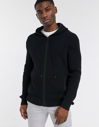 Calvin Klein textured zip hooded sweat in black