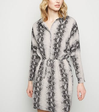 New Look AX Paris Light Snake Print Button Up Dress