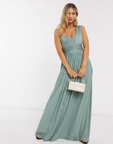Asos Design DESIGN Premium one shoulder pleated panel maxi dress in spearmint
