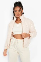 Thumbnail for your product : boohoo Petite High Shine High Neck Crop Puffer Coat