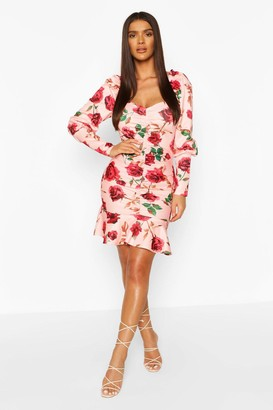 boohoo Floral Rouche Front Detail Mini Dress