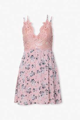 Forever 21 Lace Combo Floral Mini Dress