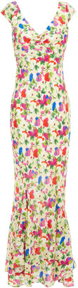 Saloni Daphne Fluted Floral-print Silk Crepe De Chine Maxi Dress