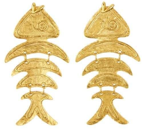 Oscar de la Renta Gold Bold Fish Earrings