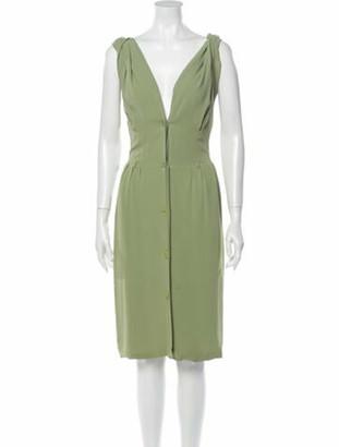Hermes Silk Knee-Length Dress Green