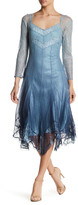 Komarov Lace & Chiffon Handkerchief Hem Dress