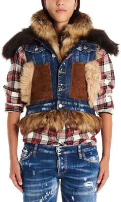 DSQUARED2 canadian Mixed Fabrics Bomber Vest