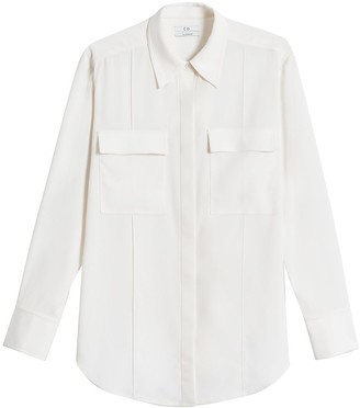 Co Button Down Patch Pocket Blouse in Ivory