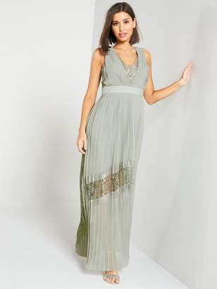 Little Mistress Lace Insert V-Neck Maxi Dress Waterlily