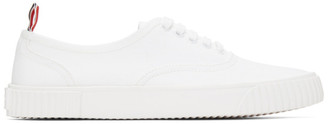 Thom Browne White Canvas Vulcanized Sneakers