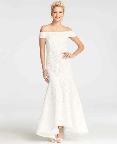 Ann Taylor Off-the-Shoulder Lace Wedding Dress