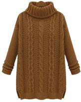 ARJOSA® Women's Fashion Cable Knit Turtleneck Long Sleeve Pullovers Sweaters Top ( Brown)