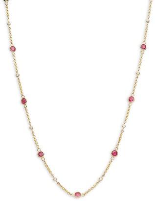 Effy 14K Yellow Gold, Ruby Diamond Station Necklace