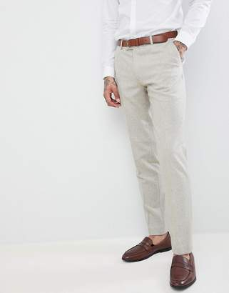 Harry Brown Wedding Donegal Skinny Fit Suit Trousers-Tan