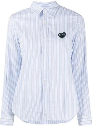 Comme des Garcons Heart Logo Striped Shirt