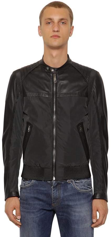 77aa9f165 Nylon & Nappa Leather Biker Jacket
