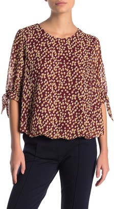 Everleigh 3/4 Tie Sleeve Bubble Hem Blouse (Regular & Petite)