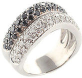 Designer 14kt White Gold Black White Pave Diamond Double Wave Ring Size 6.5