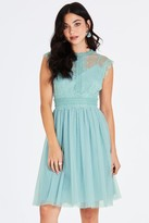 Little Mistress Monet Sage Lace Trim Prom Dress