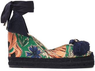 Castaner Embellished Floral-jacquard Platform Espadrilles