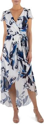 Julia Jordan Flutter Sleeve Faux Wrap Dress