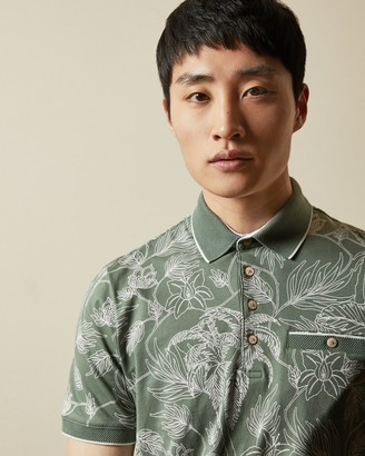 Ted Baker TEELEAF SS Linear Floral Printed Polo