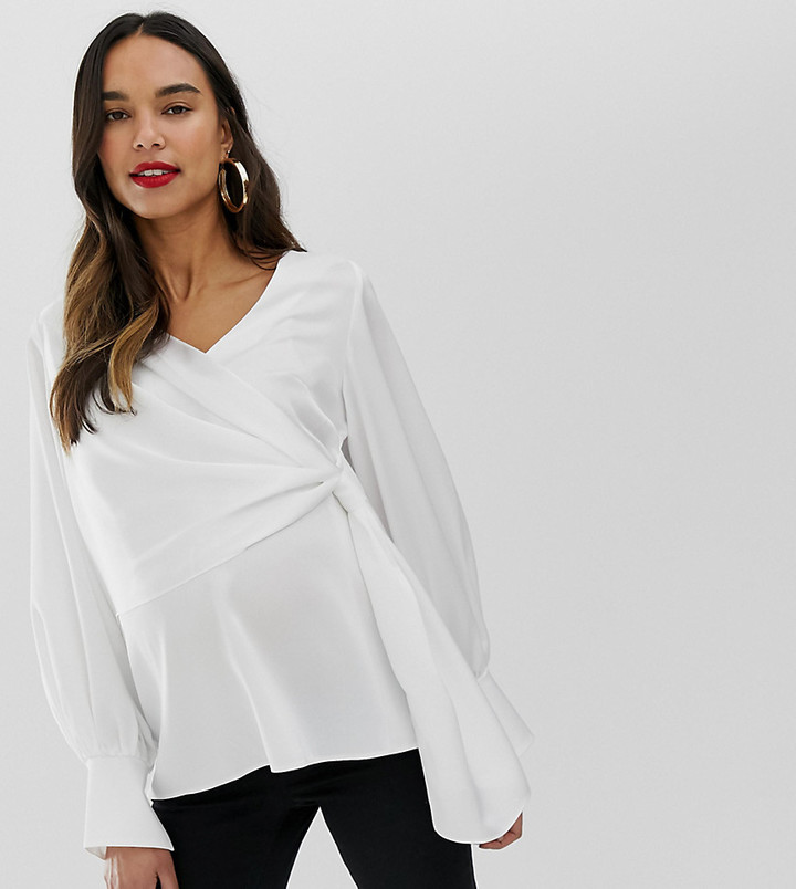 ASOS DESIGN Maternity long sleeve v neck top with drape front and cuffs