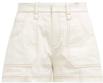 Chloé Contrast Stitching Cotton Shorts - Womens - Ivory