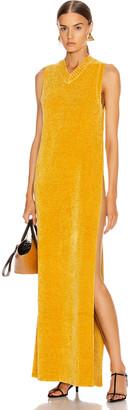 Jil Sander V Neck Long Dress in Gold | FWRD