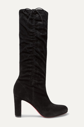 Christian Louboutin Douce 85 Ruched Suede Knee Boots - Black
