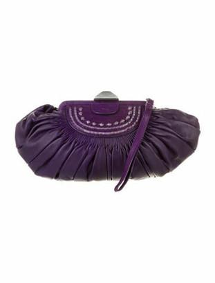 Christian Dior Leather Plisse Clutch Purple