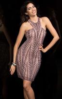 Scala 48751 Geometric Beaded Halter Short Dress