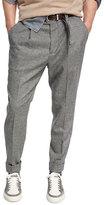Brunello Cucinelli Glen Plaid Wool-Cashmere Leisure-Fit Pants