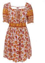 Cellabie CELLABIE Women's Casual Dresses Picture - Orange Floral Puff-Sleeve Peasant Dress - Women
