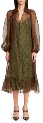 Fendi Long Sleeve Organza Midi Dress