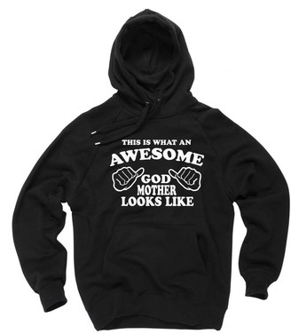 Milky Way Tshirts Women's This is What an Awesome Godmother Looks Like Baptism Hoodie Sweater X-Large Black