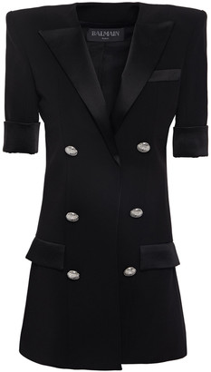 Balmain Satin-trimmed Button-embellished Stretch-crepe Blazer