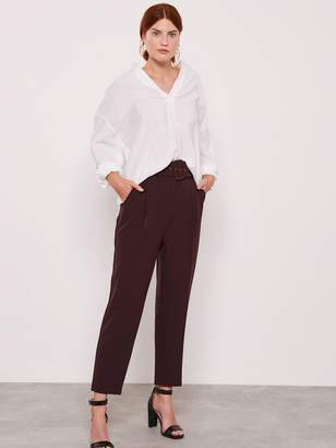 Mint Velvet Self Belt High Waist Tapered Trousers - Plum