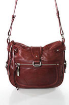 Francesco Biasia Red Leather Zipper Top Single Strap Crossbody Handbag