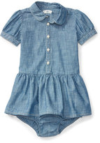 Ralph Lauren Short-Sleeve Smocked Cotton Chambray Dress, Blue, Size 6-24 Months