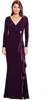 Lauren Ralph Lauren Shirred Long Sleeve Jersey Gown