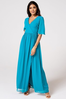 N. Rock Roll Bride Rock Roll Bride Iris Blue Jewel Mock Wrap Maxi Dress