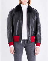 Calvin Klein Shearling-collar leather jacket