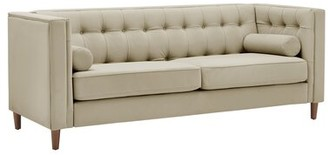 "Corrigan Studio Avent 83.4"" Wide Faux Leather Tuxedo Arm Sofa Fabric: Beige Faux Leather"