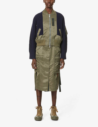 Sacai Contrast-panel wool and shell bomber jacket