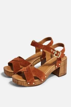 Topshop Womens Veronica Tan Leather Clog Sandals - Tan
