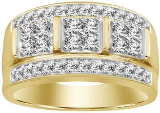FINE JEWELRY Mens 1 CT. T.W. Genuine White Diamond 10K Gold Wedding Fashion Ring