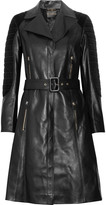 Quilted corduroy-paneled leather trench coat