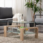 clear Kutlay Coffee Table with Storage Orren Ellis Table Base Color: Wood, Table Top Color