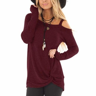 HOSD Autumn and Winter New Women's Long-Sleeved T-Shirt Knotted Shirt Women Red Wine
